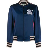 Kenzo Embroidered Detail Bomber Jacket - Azul