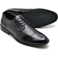Sapato Social Couro Soft Amarraração Reta Oposta Masculino - Masculino-Preto