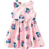 Vestido Floral Com Detalhes - Rosa Claro & Azulbrandili