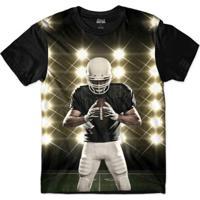 Camiseta Attack Life Futebol Americano Defensor Sublimada Masculina - Masculino-Preto