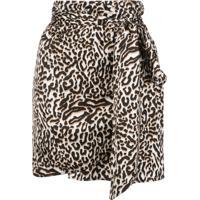 Andamane Minissaia Drapeada Com Estampa De Leopardo - Branco