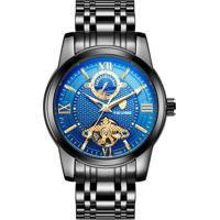 Relógio Tevise T805D Tuo Fly Masculino Automático Pulseira De Aço - Preto E Azul