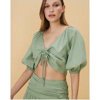Amaro Feminino Blusa De Tricoline Ajuste Frontal, Verde Claro