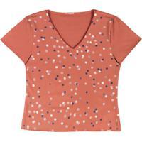 Blusa Com Decote V Em Tecido Laranja