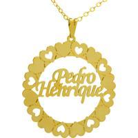 Gargantilha Horus Import Pingente Manuscrito Pedro Henrique Banho Ouro Amarelo