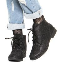 Bota Dafiti Shoes Glitter Preta