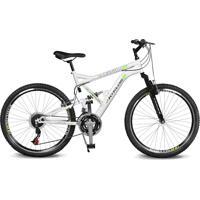 Bicicleta Kyklos Aro 26 Caballu 7.8 Suspensáo Full Baixa A-36 21V Branco/Verde - Tricae