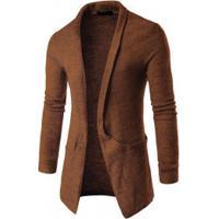 Cardigan Masculino Slim Com Design Bolso Lateral - Marrom Escuro