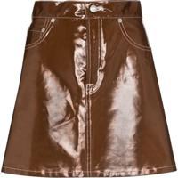 Simon Miller Minami Glossed-Effect Mini Skirt - Marrom