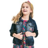 Jaqueta Infantil Feminino De Moletom Jeans Com Patch Puc [] []