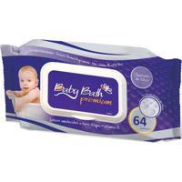 Lenços Umedecidos Cheirinho De Talco 64 Unid Baby Bath Branco