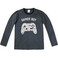 "Camiseta ""Gamer Boy""- Cinza Escuro & Preta- Kidshering"