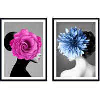 Quadro 67X100Cm Bella Mulher Com Flores Rosa E Azul Nórdico Moldura Preta Sem Vidro