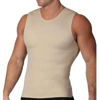 Cinta Modeladora E Postural Alta Compressão Bodyshaper Slim Fitness Masculina - Masculino-Bege
