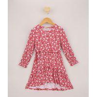 Vestido Infantil Midi Estampado Floral Com Faixa Para Amarrar Rosa