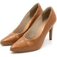 Sapato Feminino Scarpin Salto Alto Fino Em Napa Vancouver Caramelo Lançamento