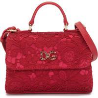 Dolce & Gabbana Kids Bolsa De Mão Com Aplicação De Renda - Vermelho