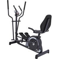 Bicicleta Ergométrica Horizontal E Elíptico Magnético Mag 5000D, Painel Multifunções, Sensor Cardíaco, 8 Níveis De Resistência- Dream