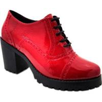 Sapato Oxford Q&A Em Couro Verniz Feminino - Feminino-Vermelho