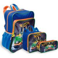 Kit Hot Wheels 19M Plus Infantil Sestini - Mochila + Lancheira + Estojo - Masculino-Azul