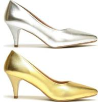 Kit Scarpin Ellas Online Salto Baixo Metalizado 2 Pares - Feminino-Dourado