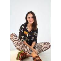 Legging Tule Deu Zebra Off White