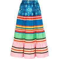 Rianna + Nina Stripe-Print Tiered Skirt - Azul