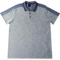 Camiseta Polo Em Malha Flamê Azul