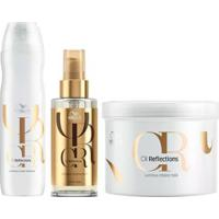 Kit Shampoo+ Óleo Luminous + Máscara Wella Professionals Oil Reflections - Unissex-Incolor