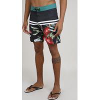 Bermuda Surf Masculina Estampada De Folhagens Com Listras Preto