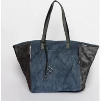 dc3990283 Bolsa Com Glitter - Azul Marinho & Prateada - 33X51Xfedra