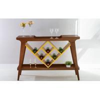 Balcão Com Adega Gourmet De Madeira Maciça Com Tampo Espelhado Pubi 130X33X90Cm - Verniz Capuccino E Amarelo