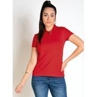 Camisa Polo Feminina Vermelha Com Mangas Curtas