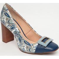 Sapato Tradicional Em Couro Com Aviamento - Azul Marinhojorge Bischoff