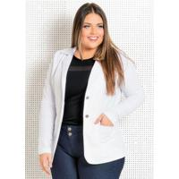 Blazer Feminino Plus Size Branco