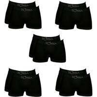 Kit Com 10 Cuecas Zorba Boxer Masculino - Masculino-Preto