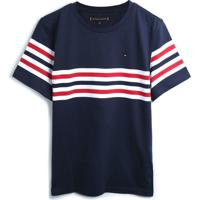 Camiseta Tommy Hilfiger Kids Menino Listrada Azul-Marinho