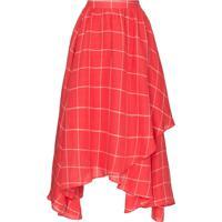 Mara Hoffman Camisa Akila Assimétrica Com Estampa Xadrez - Vermelho