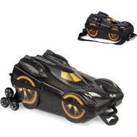 Kit Mochila Batman Beware 3D Com Rodinhas+ Lancheira Maxtoy - Masculino-Preto