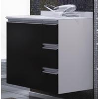 Armário Para Banheiro Com Gavetas(Lado Direito) Branco/Preto -...