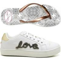 aef06609b2 Netshoes  Kit Sapatênis E Chinelo Feminino Love Com Cadarço -  Feminino-Branco