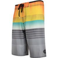 Bermuda O'Neill Boardshort Sublimado 8716A - Masculina - Laranja/Cinza