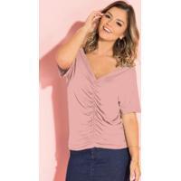 Blusa Rosê Com Drapeado Frontal E Decote V