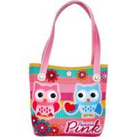 Bolsa Infantil Princesa Pink Estampa Corujinhas Com Flores - Feminino-Rosa