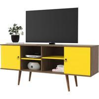 Rack Bancada Para Tv Estrela 02 Portas Demolição/Amarelo - Patrimar Móveis