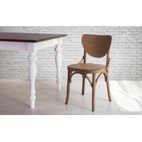Cadeira De Madeira Tipo Restaurante Torneada Encosto E Assento Anatômico Nogueira Eléonore - 44X49,5X82,5 Cm