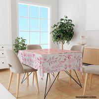 Toalha De Mesa Quadrada Para 4 Lugares Flores Rosa 1.45M X 1.45M Único