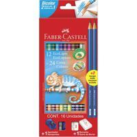 Conjunto Escolar - Ecolápis Bicolor - 24 Cores + 2 Grafites Com Apontador E Borracha - Faber-Castell