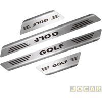 Aplique Da Soleira - Mult - Golf 2014 Até 2015 4 Portas - Aço Inox Escovado Auto Colante - Jogo - 11008