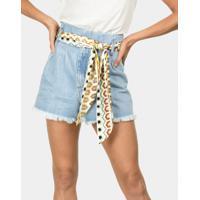 Shorts Cintura Alta Com Cinto Jeans - Lez A Lez